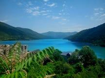 Berg för sjö för Georgia sommarnatur Royaltyfri Foto