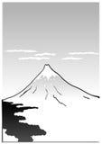 Berg Fuji, Japanse kunstillustratie Stock Foto's