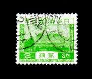 Berg Fuji, Regelmatige serie: Landschaps 1926 serie, circa 1926 Royalty-vrije Stock Afbeeldingen