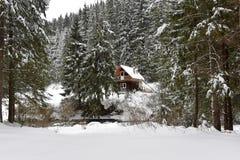 Berg houten die chalet met verse sneeuw wordt behandeld stock afbeelding