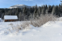 Berg houten die chalet met verse sneeuw wordt behandeld stock afbeeldingen