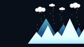 Berg i abstrakt illustration f?r vinter Bl?a lutningberg med l?ga poly moln ?ver och fallande sn? Begrepp av vintern arkivfoton