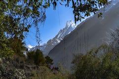 Berg i annapurnaen regio i Nepal royaltyfri fotografi
