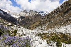 Berg i den Huascaran nationalparken Arkivbilder