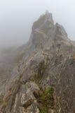 Berg i dimman i molnet av ön av madeiran, Portugal Royaltyfri Fotografi