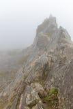 Berg i dimman i molnet av ön av madeiran, Portugal Arkivbilder