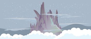 Berg i natthimlen nära landskapet för illustration för molnvektorlägenhet Arkivbilder