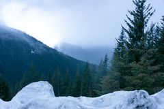Berg i vintern som döljer i dimman arkivbilder
