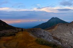 Berg Ijen, Indonesien Stockfotos