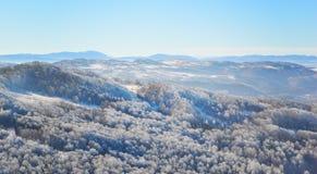 Berg ijzige lanscape, de winterscène stock foto