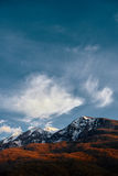 Berg im Schnee Stockfotos