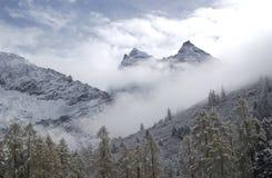 Berg im Schnee und im Nebel lizenzfreies stockfoto