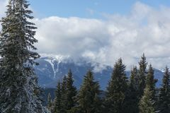 Berg im Winter Schöner Panoramablick der Rhodope-Berge stockbild