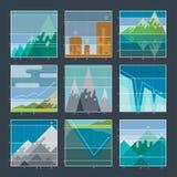 Berg infographic diagrammen en grafiekenpictogrammen Royalty-vrije Stock Afbeelding
