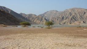 Berg Jebal Jais in Ras al Khaimah, Arabische Emirate ?berschwemmte nach einem neuen Regensturm, der herauf Wadis f?llt und Stra?e stock video footage