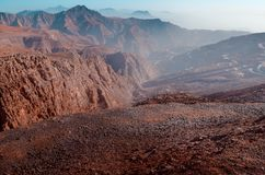 Berg Jebel Jais in Ras Al Khaimah Stockbild