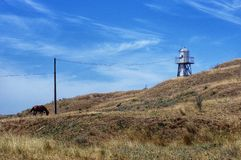 Berg Kara-Dag mit Strahl der Leuchte Lizenzfreies Stockbild