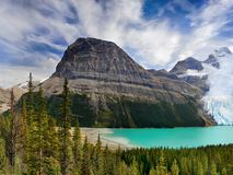 Berg Lake, Glacier Mount Robson Park, Canadian Rockies. Beautiful Berg Lake and glacier - Mount Robson Provincial Park in the Canadian Rockies, Canada Stock Image
