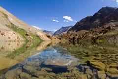 Berg lake med reflexioner i vatten Royaltyfri Bild