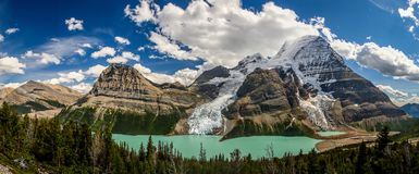 Berg Lake in Mt. Robson provincial park, Canada. Panoramatic view of Berg Lake with glaciers in Mt. Robson provincial park of British Colombia, Canada royalty free stock images
