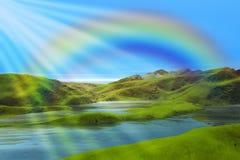 Berg lake och regnbåge arkivfoto