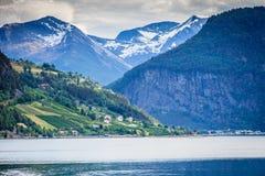 Berg landskap och fjorden i Norge Arkivbilder