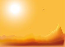 Berg landskap på solnedgången Arkivfoton