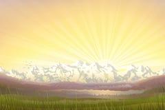 Berg landskap på solnedgången Arkivbild