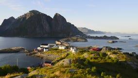 Berg luchtmening over Lofoten-Eilanden, Noorwegen stock videobeelden