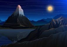 Berg matterhorn, Nachtpanorama van pieken met waterval, landschap vroeg in een daglicht reis of het kamperen stock illustratie