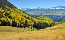 Berg med den färgrika grön och röd aspen för guling, under lövverksäsong Royaltyfri Foto