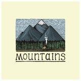 Berg med det inristade huset och skogen, hand dragen vektorillustration i träsnittscratchboardstil, tappningteckning Royaltyfri Foto