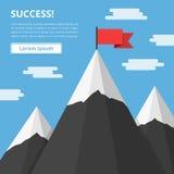 Berg med flaggan vektor illustrationer