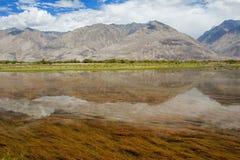Berg med reflexion på sjön Arkivbilder