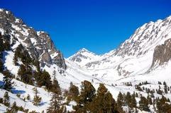 Berg med snö på Strebske Pleso skidar semesterorten Arkivfoto