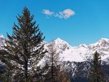 Berg met het landschapspanorama van de sneeuw duidelijk hemel Royalty-vrije Stock Fotografie