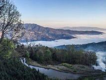 Berg met Overzees van Mist Stock Foto's