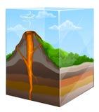 Berg mit Vulkankraterkapitel im Glas vektor abbildung
