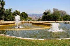 Berg Montjuic i Barcelona, Spanien royaltyfri fotografi