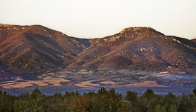 Berg nära Gevgelija Höst Macedoniaa Arkivfoto