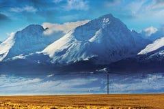 Berg och ett fält Arkivfoton