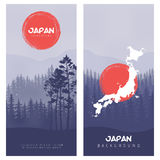 Berg och Forest Landscape Illustration av bakgrund för Japan flaggavektor Arkivbild