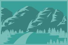 Berg och plan bakgrund för skog i gröna signaler Vektor Illustrationer