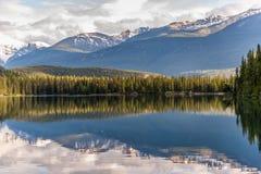 Berg och sjö med reflexion i Jasper Canada arkivbilder