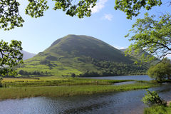 Berg och sjö som inramas av trädsjöområdet Arkivbild