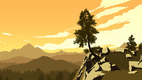 Berg och skoglandskapillustration Arkivfoto