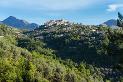 Berg oud dorp Coaraze, de Kooi van de Provence Alpes d'Azur Royalty-vrije Stock Foto