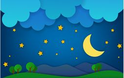 Berg på nattfantasilandskapet vektor illustrationer