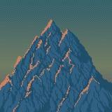 Berg på soluppgång - PIXEL Art Illustration Royaltyfri Foto
