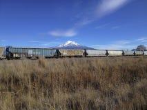 Berg Shasta über Railcars Stockbilder